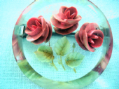 Three Pink Roses - Delightful 1940s - 1950s Reverse Carved Lucite Brooch (Sold)
